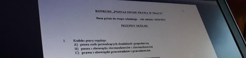 """Ogólnopolski konkurs """"Poznaj swoje prawa wpracy"""""""